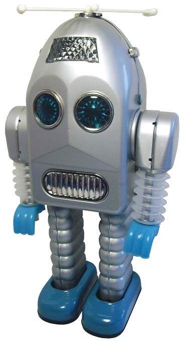 SILVER AND BLUE ROBOT